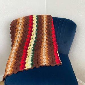 Handmade vintage style colorful striped blanket